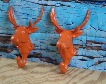 Cast Iron Moose Wall Hook Orange Lot of 2