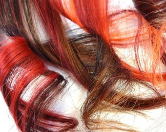 "Set of FOUR 12"" Clip-In Human Hair Streaks, Smolder"