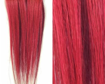 """Set of TWO 8"""" Clip-In Human Hair Streaks, Dusty Rose and Burgundy Two Tone"""