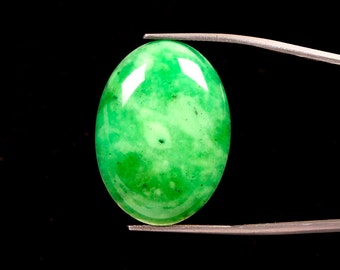 29.50 Carat. Natural Green Quartz 30x22 MM Oval Cabochon Semi-Precious Loose Gemstones Fine quality Stone Ki-14735