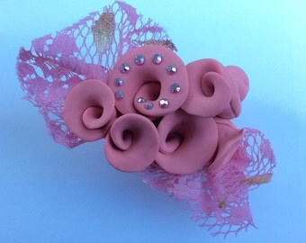 Pink floral brooch- made to order