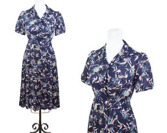 1980s Dress // 1980s does 40s Floral Pleated Skirt Puff Sleeve Dress