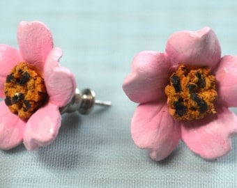 Pink flowers | Stud earrings | Handmade | Small | Signed | 80's vintage