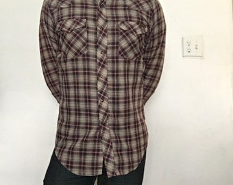 Western Style Plaid Shirt Brown/ Red/ Tan Size M