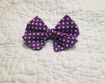 Purple Polka Bow