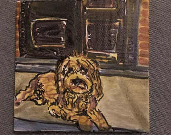 golden doodle dog | acrylic on mini canvas | AVMRT original