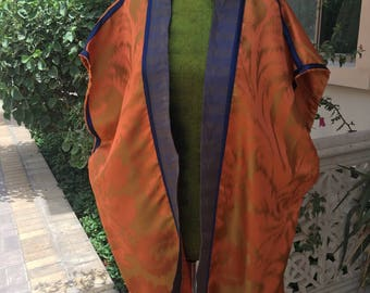 Handmade orange and blue jacket,made from repurposed curtains .
