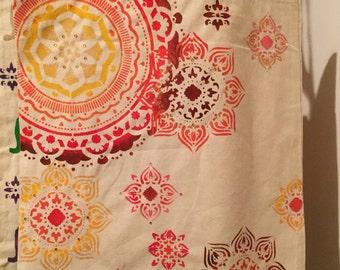 Mandala print canvas tote bag