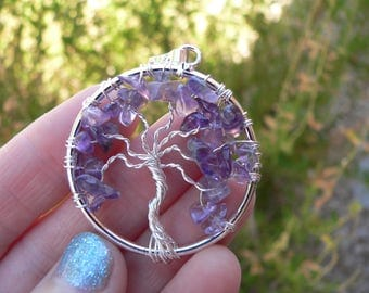 Amethyst Tree of Life Pendant / Reiki Charged + FREE Crystal Gift