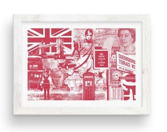 London Calling // Collage Poster  - Red