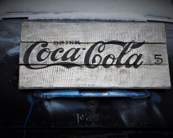 Vintage Coca Cola Sign/Wood Sign/ Coca Cola 5 cents/Classic Americana/Wall Decor/Home Decor/Distressed/Handcrafted