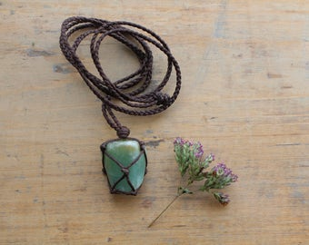Macramé green Aventurine necklace