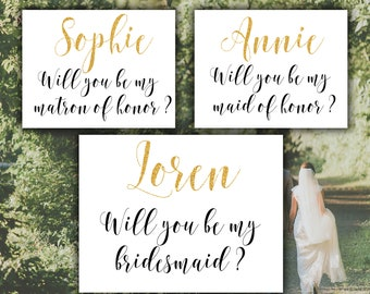 Will you be my bridesmaid Matron of honor Maid of honor Bridesmaid card set Gold printable Bridesmaid set Bridal party invitation Wedding
