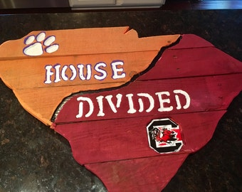 House Divided Clemson & Carolina state sign