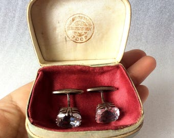 Cufflinks Antique RUSSIAN gold plated sterling SILVER 875 genuine rock crystal