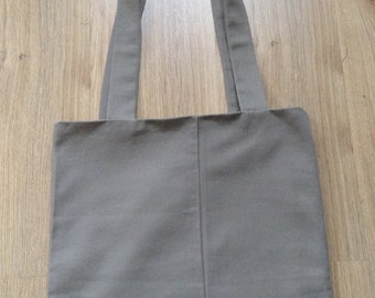 Handmade Shopping / Tote Bag made from Recycled Materials in hardwearing beige brown trouser material - fully lined