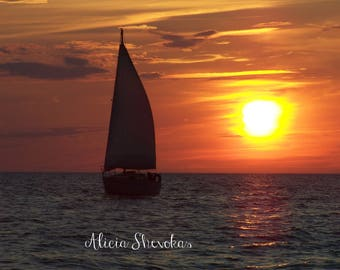 Sailboat on Lake Michigan at sunet