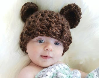 multiple size and colours - baby bear beanie - newborn bear hat - baby wear - newborn photo prop - handmade - pregnancy gifts - cute hat