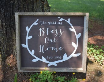 Personalized Bless Our Home sign, custom rustic home decor, framed custom family sign for your home