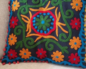 Suzani Cushion Cover,  Decorative Suzani Pillow ,Throw Suzani Pillow Cover ,Sofa Pillow ,Couch Pillow, Decorative Pillow