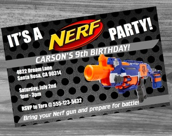 Nerf Birthday Party Custom Invitation - High quality Nerf invite sure to make your party a success!
