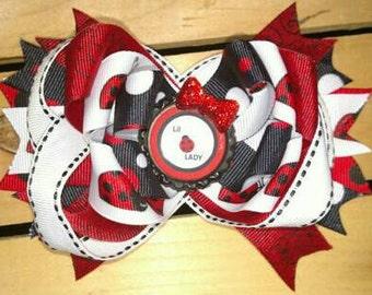 Ladybug Hair Bow, Ladybugs Hair Bow, Red & Black Hair Bow, Ladybug Bow, Ladybug Hair Clip
