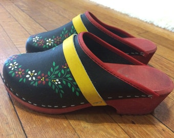 Handpainted Floral Swedish Clogs