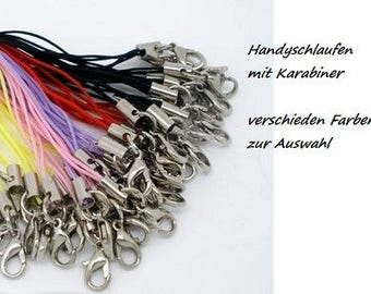 100 Handyschaufen with carabiner, phone cord, mobile phone chain, multi colored, black, yellow, silver, bronze, white, Red