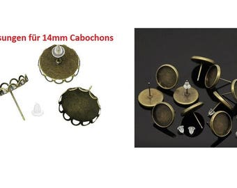 Earrings, Stud Earrings, cabochons, Cabochon, adhesive stones, dome stones, bronze, 14 mm
