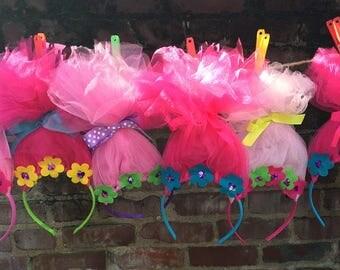 Troll 1st Birthday troll Birthday party headband trolls headband Poppy headband troll party favors