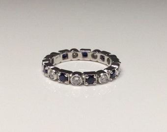 Estate 18K White Gold 1 CTW Diamond & Natural Sapphire Eternity Band Ring Sz 6.5