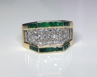 Estate 18K Yellow Gold Platinum Diamond & Emerald Cocktail Ring 8 Grams, Size7