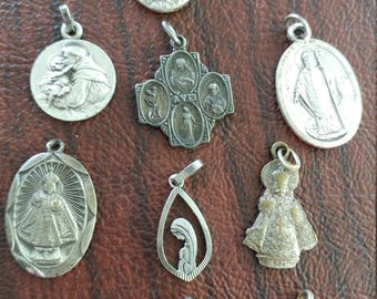 Antique Religious Medals:  Lot of 10
