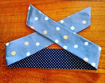 Grey Polka Dot Reversible Head Scarf