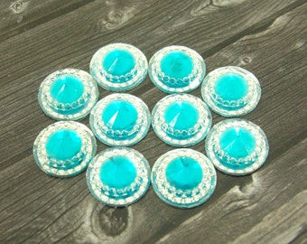 10pcs Aqua Blue Acrylic Buttons Sparkly Shimmery Rhinestone Flat Back Buttons for Wedding Hair Clip Pin Flower Center Piece Embellishment