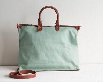 Canvas Bag, Women Handbag, Canvas Tote Bag for Women, Leather Bag, Shoulder Bag, Canvas Travel Bag, Travel Tote Bag, Canvas Weekender, Mint