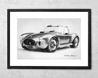 Ac Cobra Shelby 427 - Drawing - Sports Car - Car Drawing - Car Poster - Classic Cars - Ford -  Automobile - Race Car - Shelby Cobra Poster