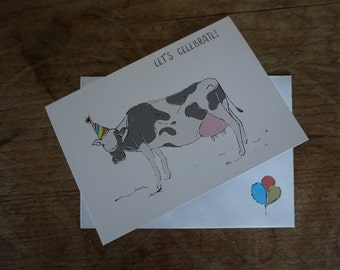 Cow // Let's Celebrate! // Greetings Card