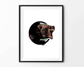 Bear poster, Bear art, Animal Wall Art, Digital Download Poster, Pencil drawing, Home Decor, Set of 5 JPG, Artwork, Picture, 18x24, Animal