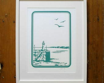 Smeaton's Pier St Ives - A3 Limited Edition Screen Print Cornwall Print