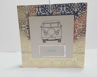 Fathers day card, greeting card, blank card, card and envelope, white card, handmade card, camper van card, birthday card, gift for him,