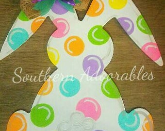 Colorful dots Easter bunny, Spring door hanger, Spring door decor