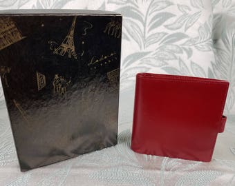 Lederer de Paris Vintage 1960s Red Leather Wallet Made In Paris w/ Original Box