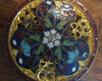 Rare antique enamel french champleve openwork 37 mm button