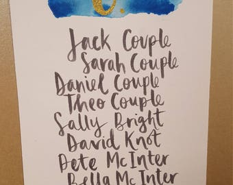 Hand Lettered Table Plan