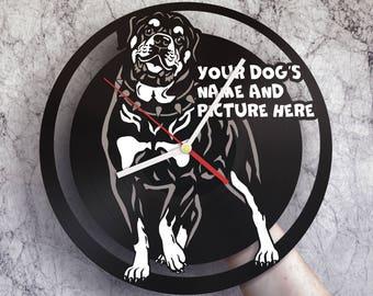 Dog room decor, Dog gifts for women, Dog wall art, Nursery dog art, Dog vinyl wall clock, Dog photo, Rottweiler art, Rottweiler decor