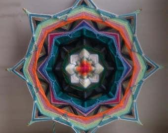 "Water Lily - woven mandala, Ojo de Dios, Olho de Deus, Eye of God - wall decor, 10"" (26 cm)"