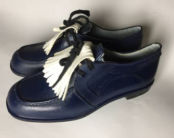 Rare Stylo golf shoes Vegan shoes vintage classics 100% human made material, hipster shoes fringe 70's shoes Navy blue Kilties