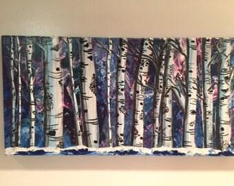 "Ghost Aspens in Winter 10"" x 20"" Original Acrylic on Canvas"