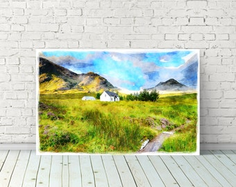 Cottage at Glencoe in the Scottish Highlands - Instant Download - Printable Art -Digital Print - Watercolor Painting - Wall Art - Poster